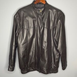 Vintage 90's Y2K brown genuine leather quilted lined bomber jacket Size 12